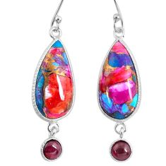 925 silver 12.52cts spiny oyster arizona turquoise garnet dangle earrings r62438