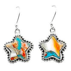 925 silver 10.43cts spiny oyster arizona turquoise star earrings t50627
