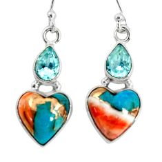 925 silver 10.02cts spiny oyster arizona turquoise topaz dangle earrings r50946