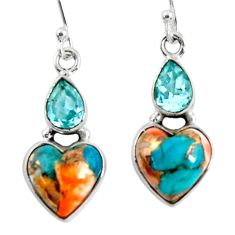 925 silver 10.02cts spiny oyster arizona turquoise topaz dangle earrings r50967
