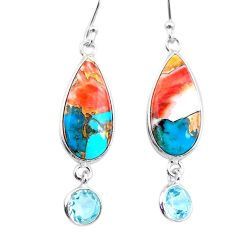 925 silver 11.96cts spiny oyster arizona turquoise topaz dangle earrings t24884