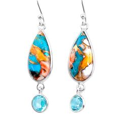 925 silver 11.79cts spiny oyster arizona turquoise topaz dangle earrings t24899