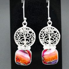 925 silver 11.32cts spiny oyster arizona turquoise tree of life earrings r95144