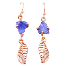 Handmade 8.12cts tanzanite raw 14k rose gold deltoid leaf earrings t29816