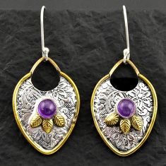 925 silver 1.88cts victorian natural purple amethyst two tone earrings d40660