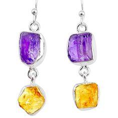 925 silver 11.09cts yellow citrine raw amethyst raw dangle earrings r74396