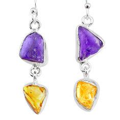 925 silver 9.77cts yellow citrine raw amethyst raw dangle earrings r74399