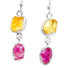 925 silver 9.27cts yellow citrine raw ruby raw dangle earrings r74373