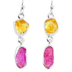 925 silver 8.95cts yellow citrine raw ruby raw dangle earrings r74377