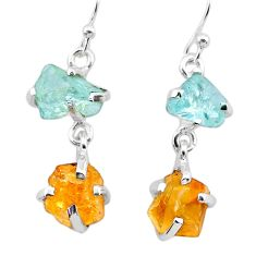 925 silver 9.91cts yellow citrine rough aquamarine raw dangle earrings t25656