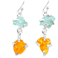 925 silver 10.06cts yellow citrine rough aquamarine raw dangle earrings t25659