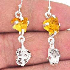 925 silver 10.96cts yellow citrine raw herkimer diamond dangle earrings t15295