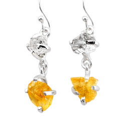 925 silver 9.53cts yellow citrine rough herkimer diamond dangle earrings t25592