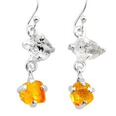 925 silver 8.70cts yellow citrine rough herkimer diamond dangle earrings t25596