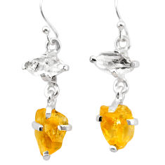925 silver 9.53cts yellow citrine rough herkimer diamond dangle earrings t25599