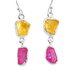 925 silver 11.57cts yellow citrine raw ruby rough dangle earrings r93686