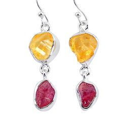 925 silver 11.57cts yellow citrine raw ruby rough dangle earrings r93690