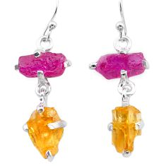 925 silver 10.43cts yellow citrine rough ruby raw dangle earrings t25647