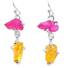 925 silver 9.41cts yellow citrine rough ruby raw dangle earrings t25653