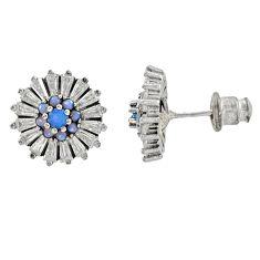 925 sterling silver 6.39cts aqua chalcedony topaz stud earrings c9524