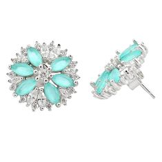 925 sterling silver 11.66cts aqua chalcedony white topaz earrings jewelry c20162