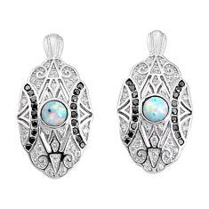 925 sterling silver 3.29cts australian opal (lab) topaz earrings a96660 c24399