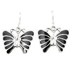 Black onyx enamel 925 sterling silver butterfly earrings jewelry c11591