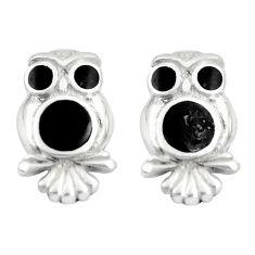 925 sterling silver 4.25gms black onyx enamel owl earrings jewelry a88639 c14356