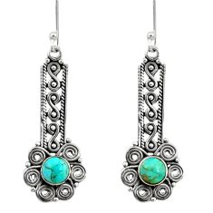 925 sterling silver 2.62cts blue arizona mohave turquoise dangle earrings d41220