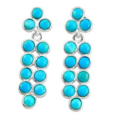 925 sterling silver 7.57cts blue arizona mohave turquoise dangle earrings r35504