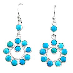 925 sterling silver 8.10cts blue arizona mohave turquoise dangle earrings r35523
