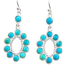 925 sterling silver 8.68cts blue arizona mohave turquoise dangle earrings r35584