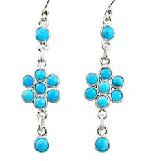925 sterling silver 8.15cts blue arizona mohave turquoise dangle earrings r35645