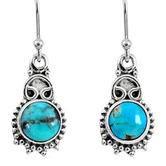 925 sterling silver 4.92cts blue arizona mohave turquoise dangle earrings r60424