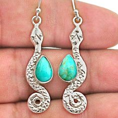 925 sterling silver 4.52cts blue arizona mohave turquoise snake earrings t40189