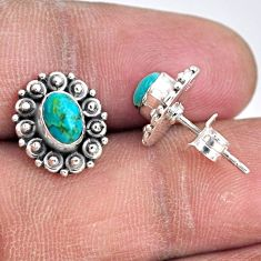 925 sterling silver 2.60cts blue arizona mohave turquoise stud earrings r55124