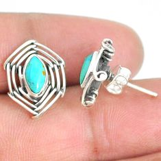 925 sterling silver 4.18cts blue arizona mohave turquoise stud earrings r67908