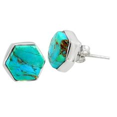 925 sterling silver 6.73cts blue arizona mohave turquoise stud earrings r80287