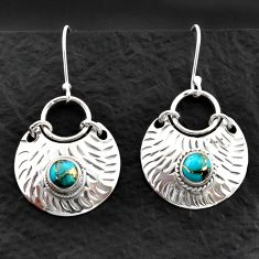 Clearance Sale- 925 sterling silver 2.06cts blue copper turquoise dangle earrings jewelry d40590