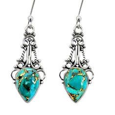 Clearance Sale- 925 sterling silver 5.23cts blue copper turquoise dangle earrings jewelry d41186