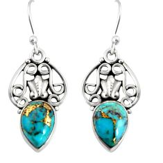 925 sterling silver 4.22cts blue copper turquoise dangle earrings jewelry r19888