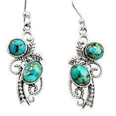 925 sterling silver 4.52cts blue copper turquoise dangle earrings jewelry r26084