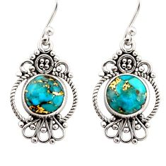 925 sterling silver 6.27cts blue copper turquoise dangle earrings jewelry r31104