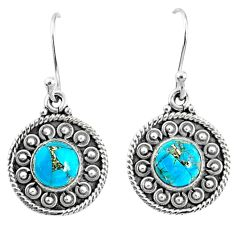 925 sterling silver 5.07cts blue copper turquoise dangle earrings jewelry r67110