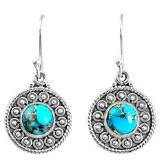 925 sterling silver 3.13cts blue copper turquoise dangle earrings jewelry r67128