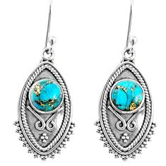 925 sterling silver 4.69cts blue copper turquoise dangle earrings jewelry r67165