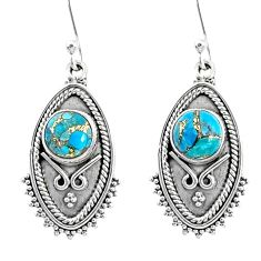 925 sterling silver 4.71cts blue copper turquoise dangle earrings jewelry r67168