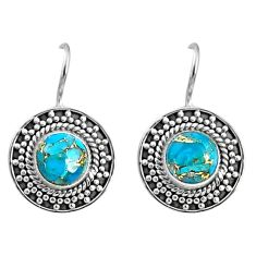 925 sterling silver 5.39cts blue copper turquoise dangle earrings jewelry r67192