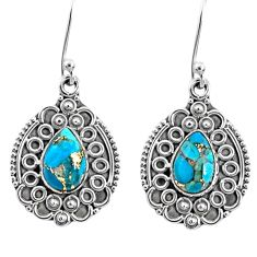 925 sterling silver 4.22cts blue copper turquoise dangle earrings jewelry r67208