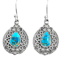 925 sterling silver 4.03cts blue copper turquoise dangle earrings jewelry r67273